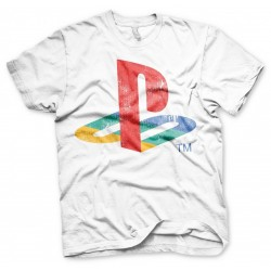 PLAYSTATION - T-Shirt Distressed Logo - WHITE (L) 155309  Playstation