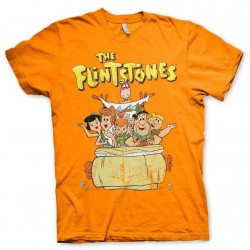 THE FLINTSTONES - T-Shirt Flintstones Family - Orange (S) 155213  T-Shirts