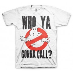 GHOSTBUSTERS - T-Shirt Who Ya Gonna Call ? - wit (L)