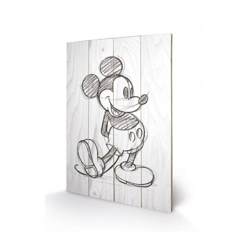 DISNEY - Printing on wood 40X59 - Mickey Mouse Black / White