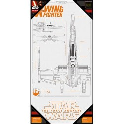 STAR WARS 7 - GLASS POSTER - X-Wing Blue Print - 60X30 cm