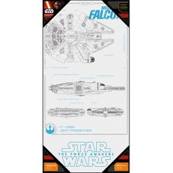 STAR WARS 7 - GLASS POSTER - Millenium Falcon Blue Print - 60x30 cm