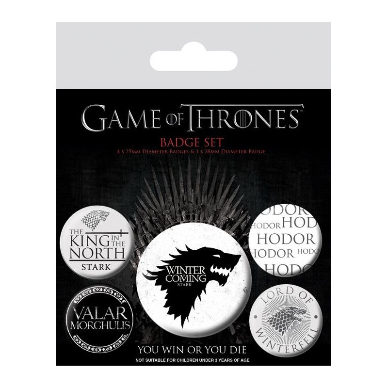 GAME OF THRONES - Pack 5 Badges - Winter is Coming 169149  Pin & Spelden