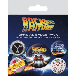 BACK TO THE FUTURE - Pack 5 Badges - Delorean 169145  Back to the future