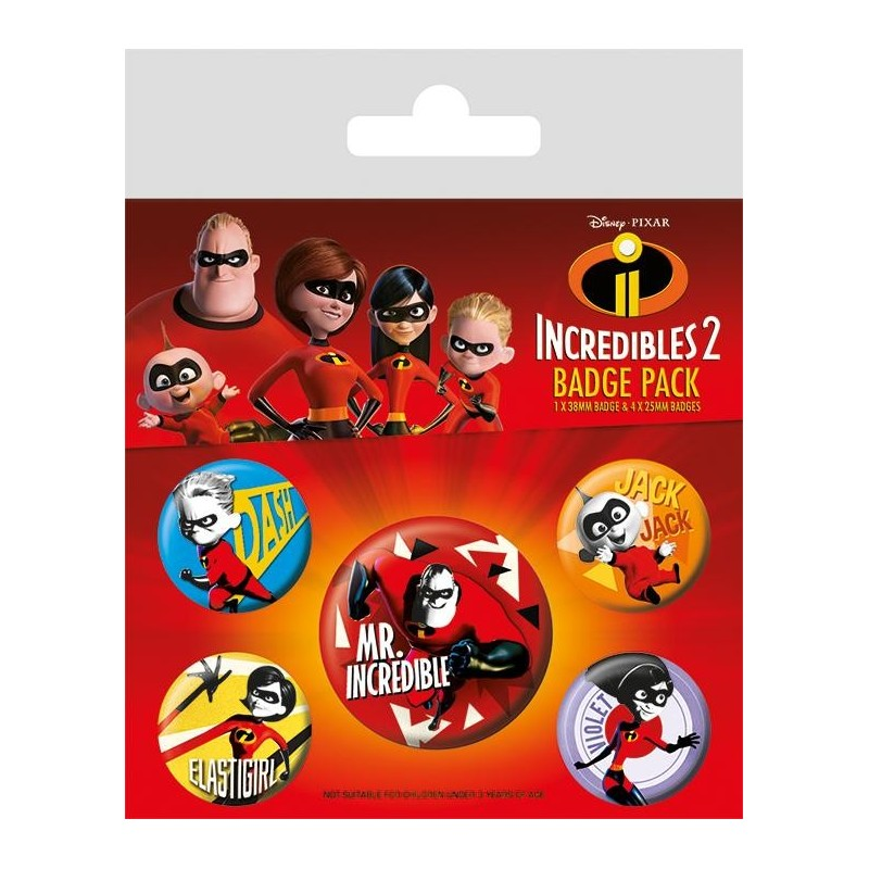 INCREDIBLES 2 - Pack 5 Badges - Family 169139  Pin & Spelden