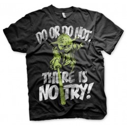 STAR WARS - T-Shirt There is No Try YODA - zwart (L)