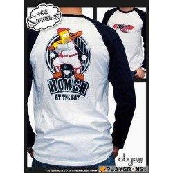 SIMPSONS - T-Shirt Homme HOMER AT THE BAT White/Navy Premium (M) 138266  T-Shirts The Simpsons