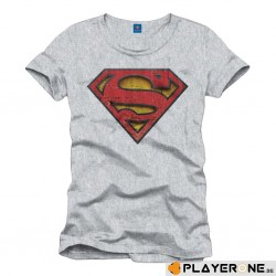 SUPERMAN - T-Shirt Used Logo Relief Grey Melange (XXL) 137480  T-Shirts Superman