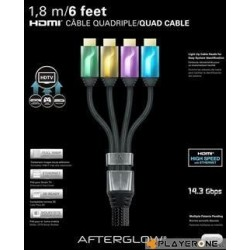 PDP - Afterglow - Cable HDMI Quadriple 1.80 M - GREEN/ORAN./PURP./BLUE
