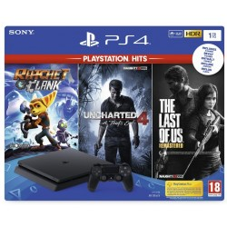 Console PS4 Slim - 1To Black - Ratchet/Last of US/Uncharted4 - HITS 170155  PS4