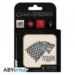 GAME OF THRONES - Set 4 Coasters - Houses 173568  Onderzetters
