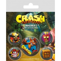 CRASH BANDICOOT - Pack 5 Badges - Pop Out 174110  Badges