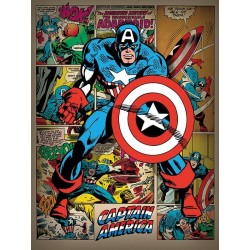 MARVEL COMICS - Canvas 60X80 '38mm' - Captain America Retro 175579  Houten Canvas