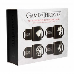 GAME OF THRONES - Set 4 Bekers Ceramic Emblems Collector Edition
