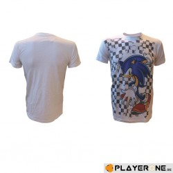 SONIC - T-Shirt Checkered Background White (L) 131291  T-Shirts Sonic