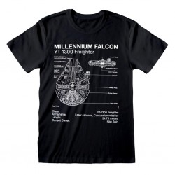 STAR WARS - T-Shirt - Millennium Falcon Sketch (L) 179695  T-Shirts Star Wars