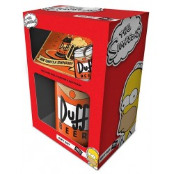 THE SIMPSONS - Gift Set - Mug, Coaster & Keychain - Duff 180007  Drinkbekers - Mugs