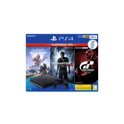 Console PS4 SLIM - 500 GB Black Hits Pack GT/HZD/UC4 - Playstation  180334  PS4