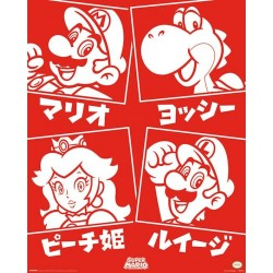 NINTENDO - Mini Poster 40X50 - Super Mario - Japanese Characters 180556  Posters
