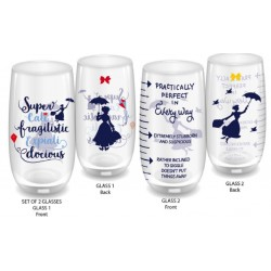 MARY POPPINS - Large Glass Set of 2 - Practically Perfect 166894  Glazen