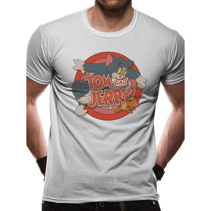 TOM AND JERRY - T-Shirt IN A TUBE- Retro Logo (L) 165742  T-Shirts