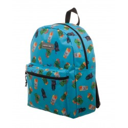 MINECRAFT - Enemy All Over Toss Print Blue Backpack