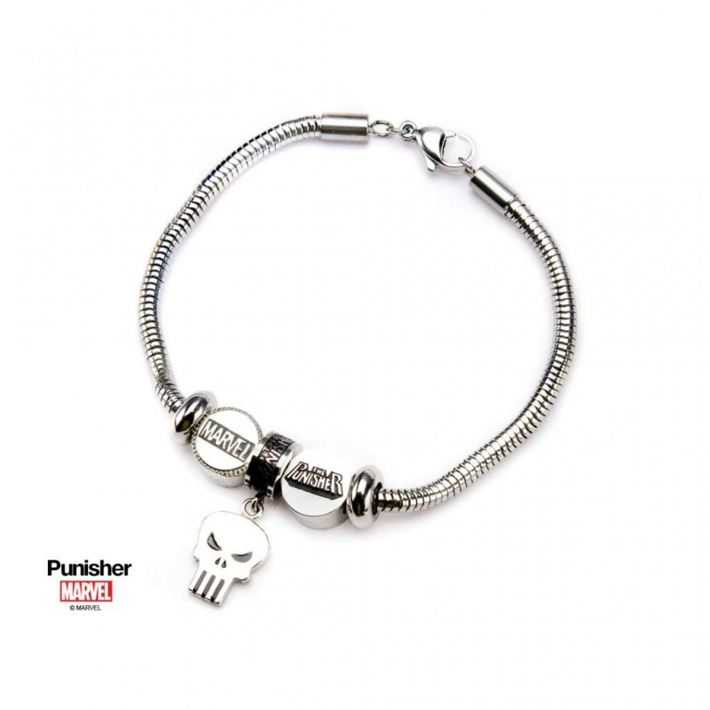MARVEL - Dames roestvrij staal Punisher Bead Charm Armband Set