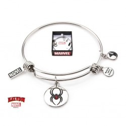 MARVEL - Women's Stainless Steel Black Widow Expandable Charm Bracelet