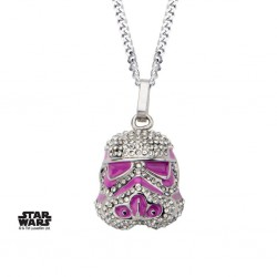 STAR WARS - Stormtrooper with Clear Gem and Pink Enamel Filled Pendant