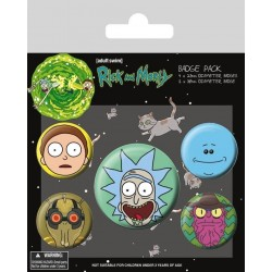 RICK & MORTY - Pack 5 Badges - Heads 162990  Badges