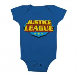JUSTICE LEAGUE - Baby Body Classic Logo - Blue (6 Month)