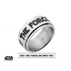 STAR WARS - Men's Roestvrij stale MAY THE FORCE Spinner Ring - ringmaat 11