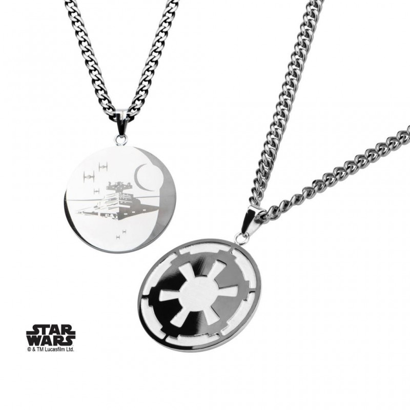 STAR WARS - Roestvrij stale Empire and Death Star Pendant