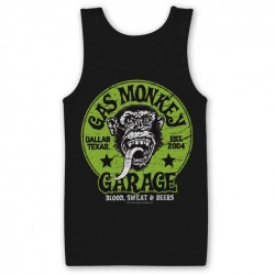 GAS MONKEY GARAGE - Men Tank Top Green Logo (L) 160813  Top Tank Shirts