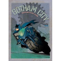 GOTHAM CITY MOTOR CLUB - Magnetic Metal Poster 45x32 - Batcycle 160720  Magnetische Metalen Posters
