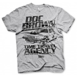 BACK TO THE FUTURE - T-Shirt Doc Brown Time Travel Agency - grijs (L)