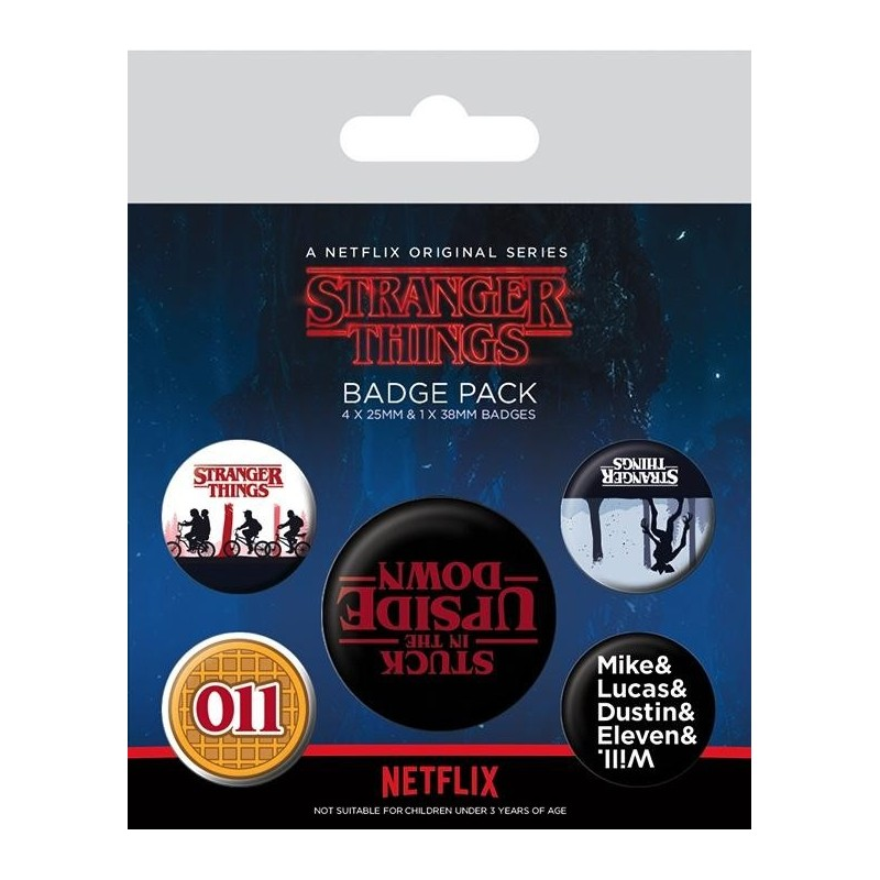 STRANGER THINGS - Pack 5 Badges - Upside Down 170367  Badges