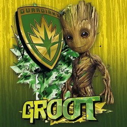 GUARDIANS OF THE GALAXY 2 - Canvas 40X40 '18mm' - Groot Shield 156915  Ingelijst